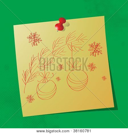 Christmas Ornaments Hand Drawn Message