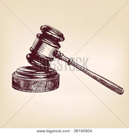 gavel vintage hand drawn