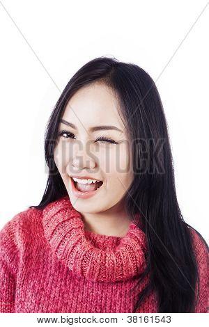 Beautiful Woman Winked Her Eye
