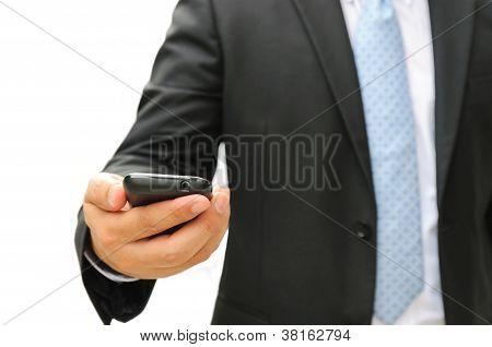 Business Man Holding A Smart Phone.