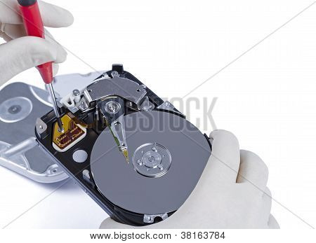 Technician With Open Hard-disk