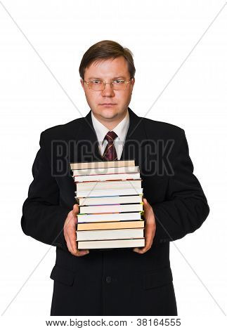Man With Stack Of Books