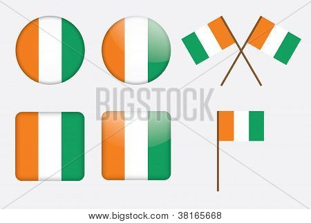 Badges With Flags Of Ivory Coast
