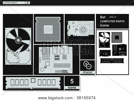 Vector collection icons. Computer Hardware Icons.