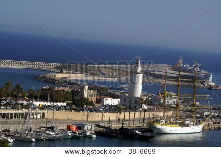 Aerial View Of The Harbour Of Malaga, Spain