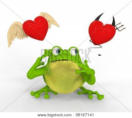 Frog with Doubts in Love