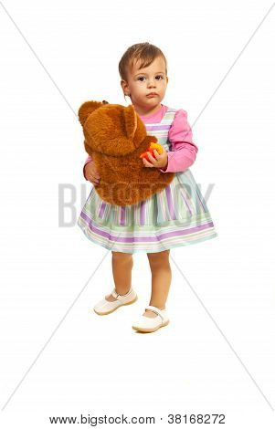 Toddler Girl Holding Teddy Bear