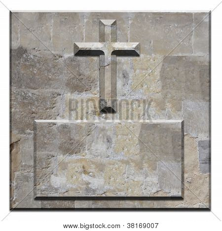 Carved Stone Cross On Square Bevelled Panel