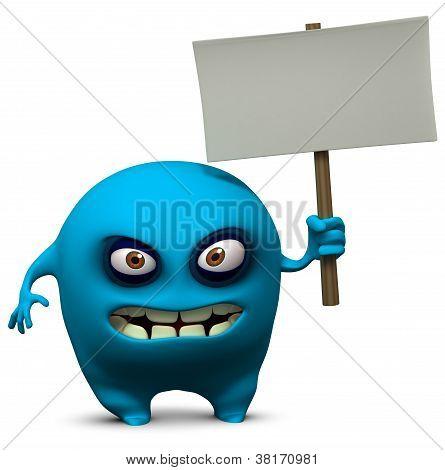 Blue Monster Holding Blank Board