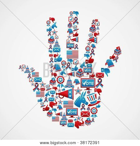 I Vote In Usa Elections Icons Hand