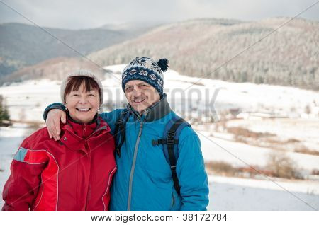 Portrait of senior retired couple in winter