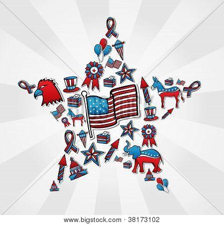Conjunto de ícones de eleições EUA em estrela