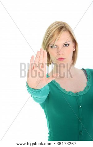 Determined Woman Calling A Halt