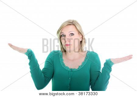 Ignorant Woman Shrugging Her Shoulders