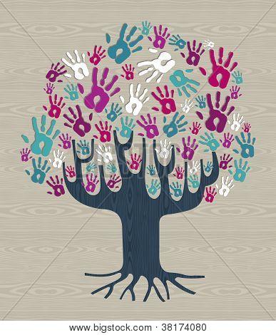 Winter Colors Diversity Tree Hands