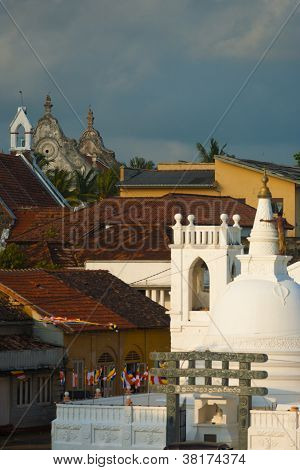 Christian Church Buddhist Temple Galle Cityscape