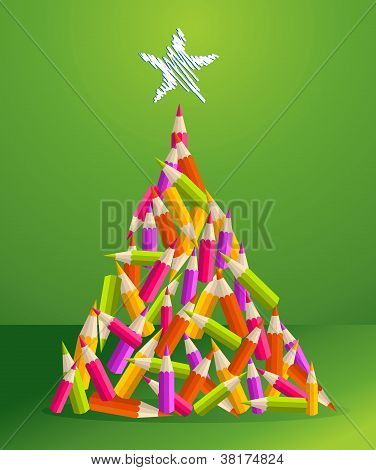 Design And Art Pencils Christmas Tree