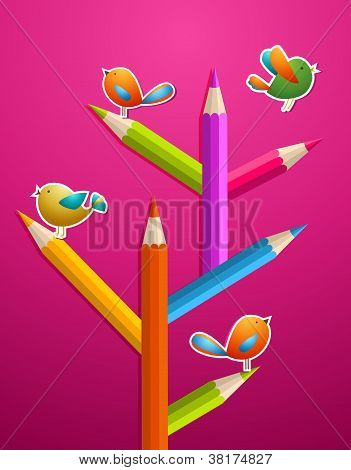 Art Pencils And Birds Christmas Tree