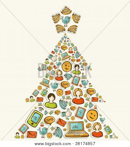 Social Media Networks Christmas Tree