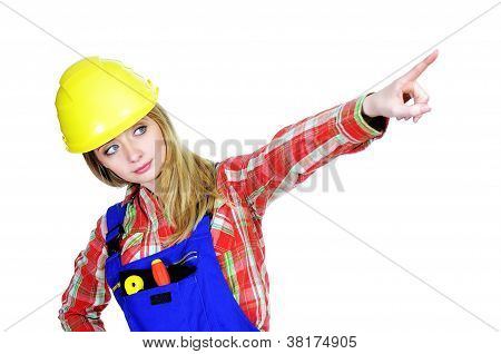 Female worker pointing up