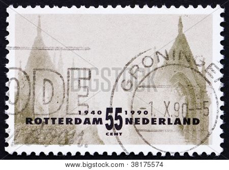 Postage stamp Netherlands 1990 Rotterdam Reconstruction