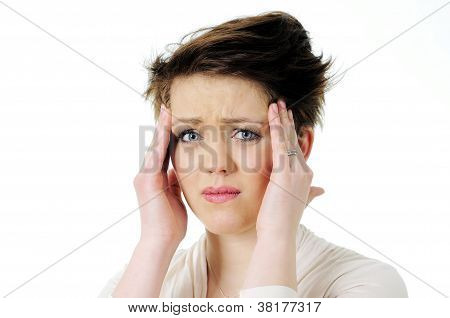 Woman with headache gesture