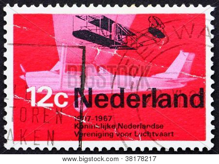 Postage stamp Netherlands 1968 Wright A from 1909 and Cessna spo