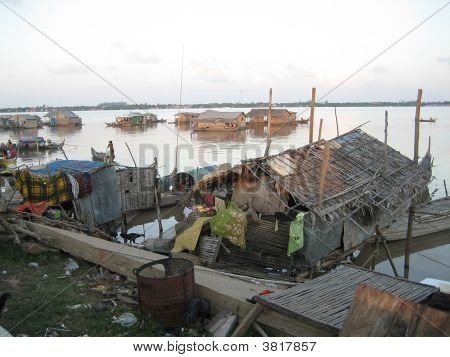 Boat Houses At Phnom Penh Bay Cambodia