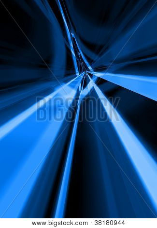 Glowing Lines Along An Abstract Tunnel
