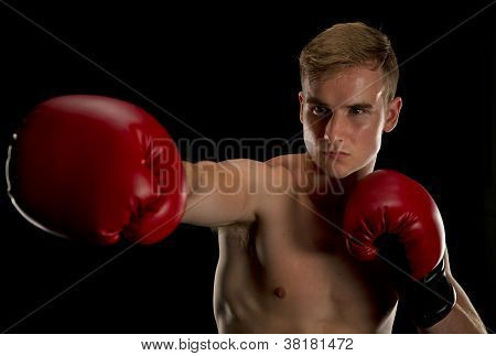Boxer taking his right jab