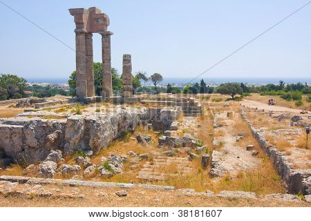 Acropolis Of Rhodes At Monte Smith On The Island Of Rhodes Greece.