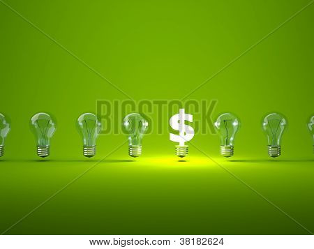 Luminous dollar sign with light bulbs