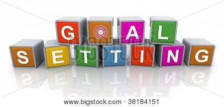 3D Modewort Text 'goal setting'