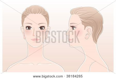 Set Of Beautiful Woman Portrait, Front And Side View