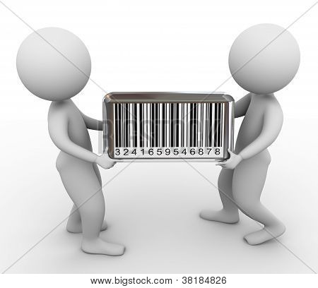 3D Men And Barcode