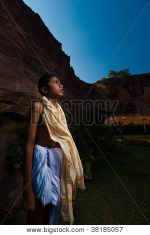 Brahmin Boy Priest Waiting Puja End
