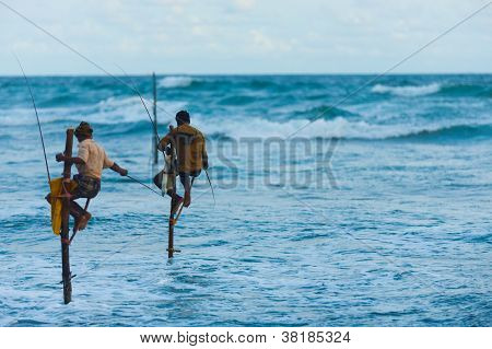 Stilt Fishermen Sri Lanka Traditional Copy Space
