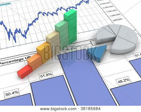 3D barra de progreso en el informe financiero