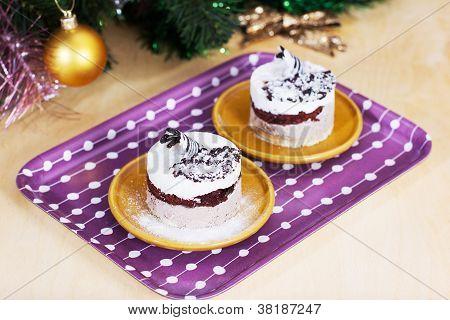 Luxury Dessert With Christmas Decor