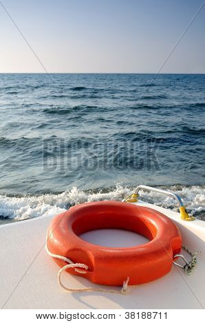 Life buoy on the boat