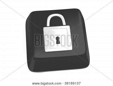 Lock Icon In White On Black Computer Key. 3D Illustration. Isolated Background.