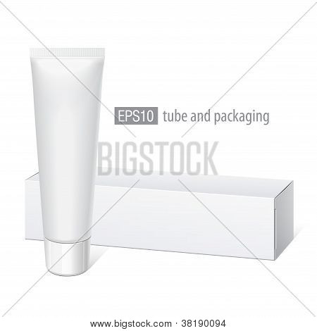 Realistic white tube and packaging.