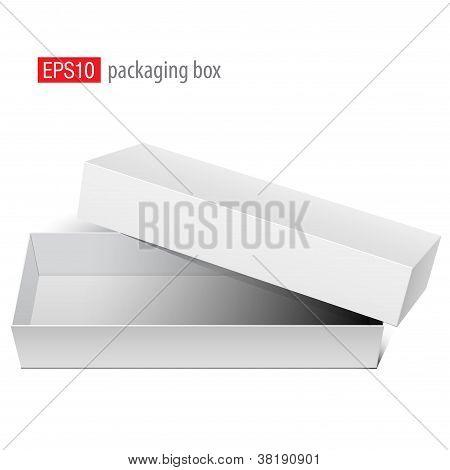 Blanco blanco caja abierta con la tapa quitada.