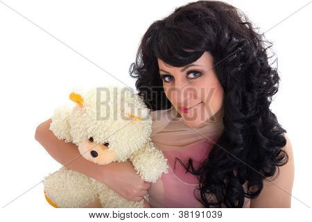 Womanl With Creative Make-up In Doll Style Hugging Bear Toy