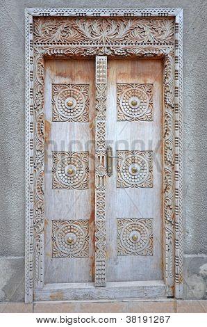 Typical Old Wooden Door In Stone Town - Zanzibar