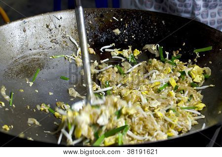 Frying Thai Style Noodles