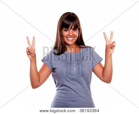 Smiling Young Woman With A Winning Attitude