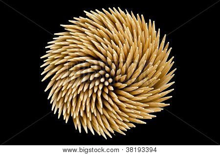 Spiral Toothpicks In Black Background