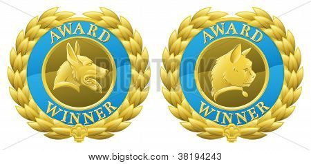 Gold Cat And Dog Pet Medals