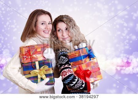 Happy Girlfriends With Christmas Presents